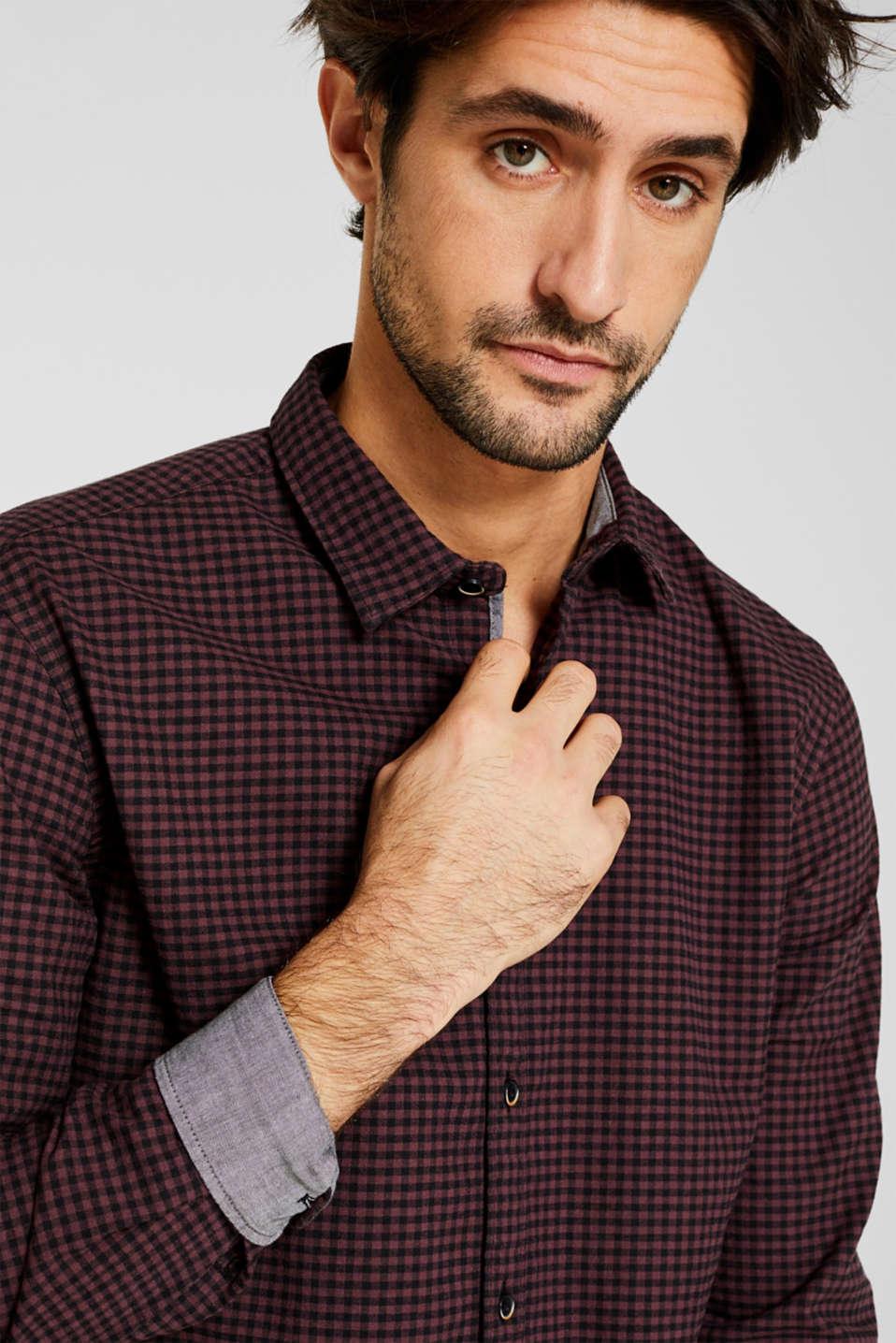 Gingham check shirt, GARNET RED, detail image number 6