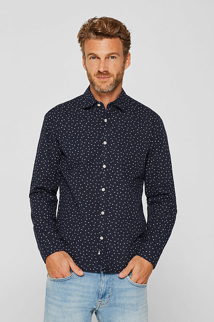 Shirt with a polka dot print, 100% cotton, NAVY, detail image number 0