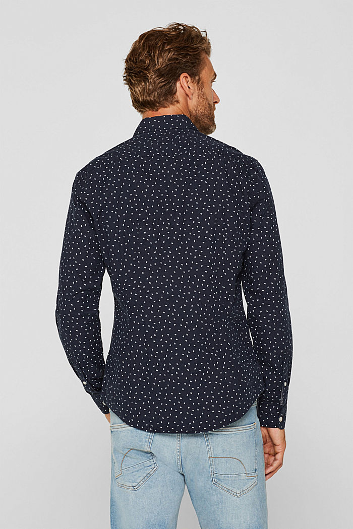 Shirt with a polka dot print, 100% cotton, NAVY, detail image number 3
