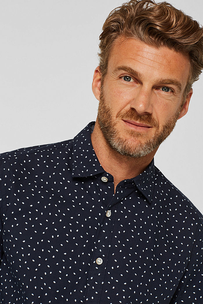 Shirt with a polka dot print, 100% cotton, NAVY, detail image number 2