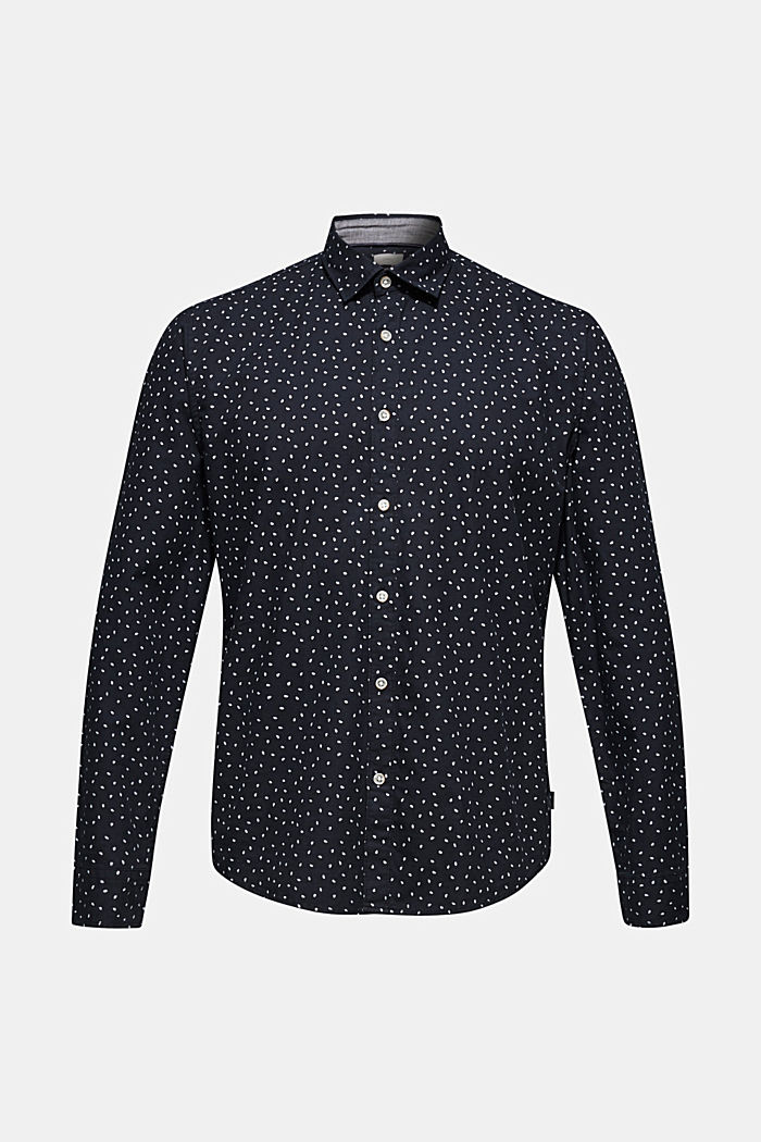 Shirt with a polka dot print, 100% cotton, NAVY, overview