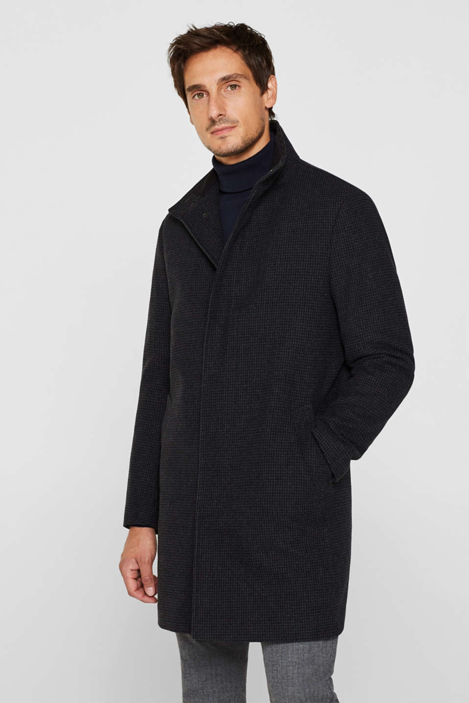 Esprit - Wool blend: coat with check pattern