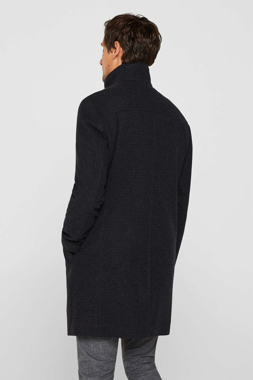 Wool blend: coat with check pattern, ANTHRACITE, detail image number 3