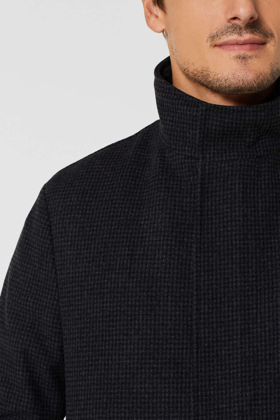 Wool blend: coat with check pattern, ANTHRACITE, detail image number 2