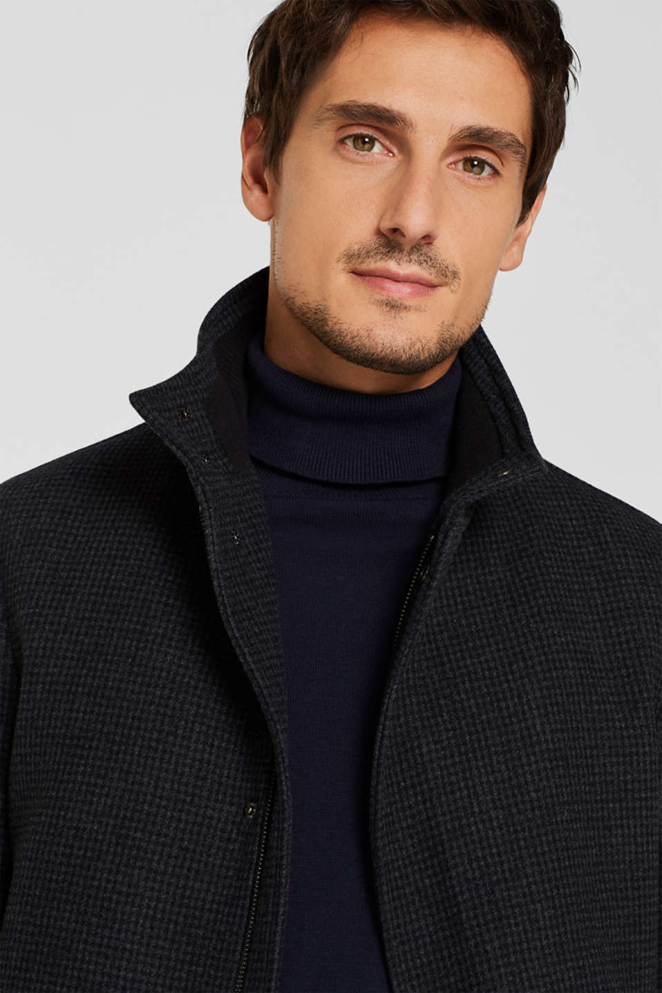 Wool blend: coat with check pattern, ANTHRACITE, detail image number 5