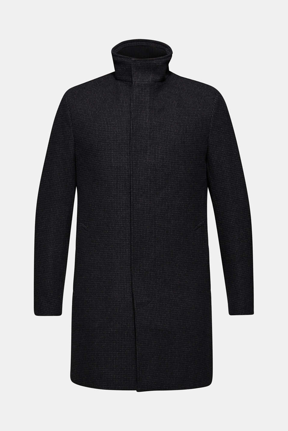 Wool blend: coat with check pattern, ANTHRACITE, detail image number 7