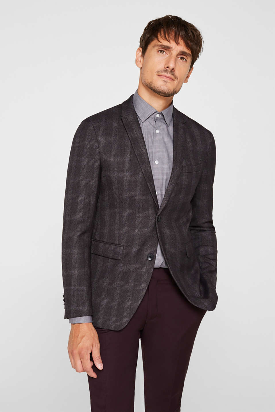 Jacket with a checked pattern, DARK GREY, detail image number 0