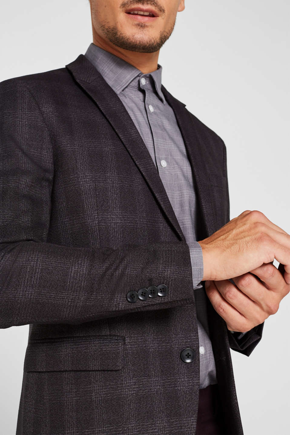 Jacket with a checked pattern, DARK GREY, detail image number 2