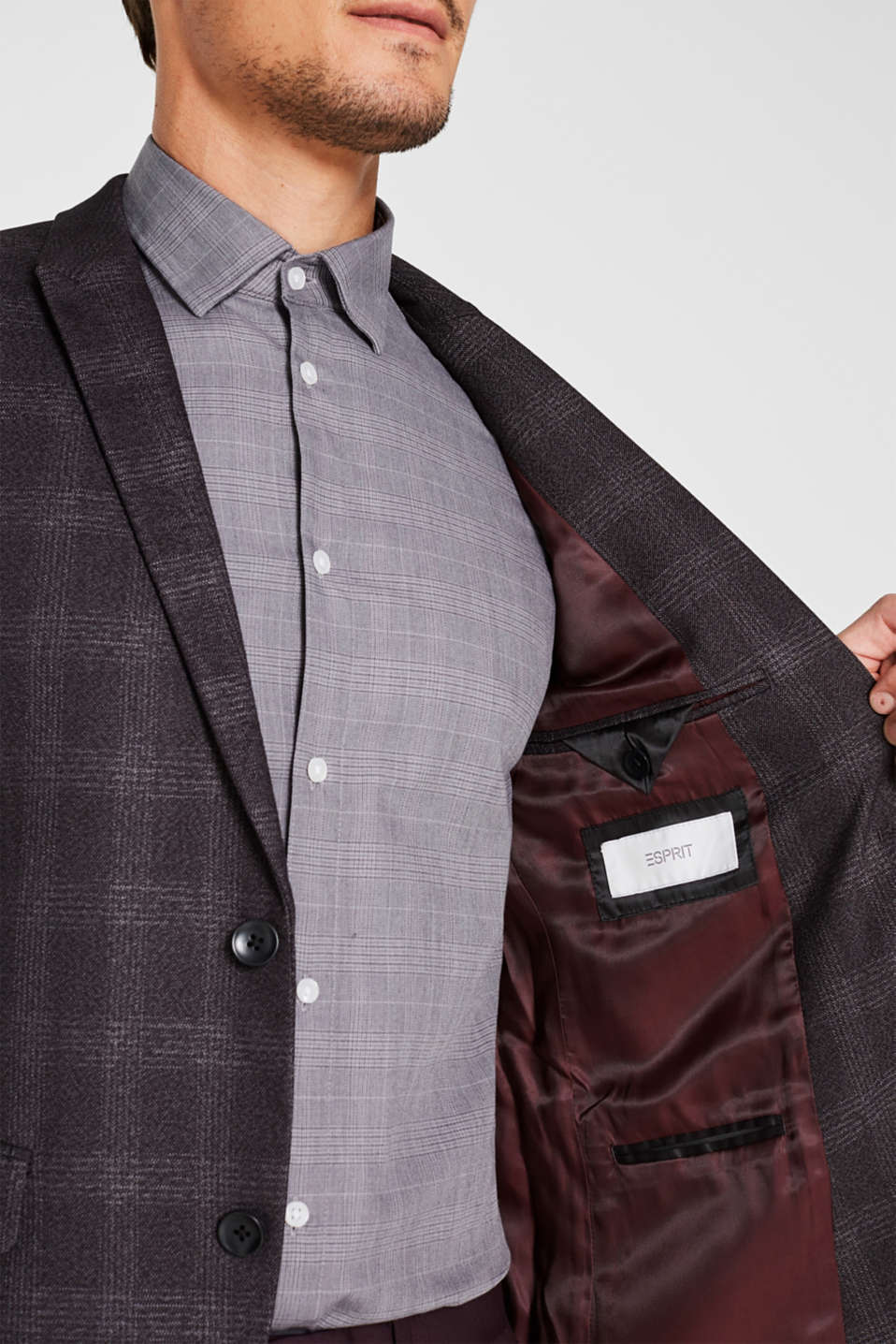 Jacket with a checked pattern, DARK GREY, detail image number 5