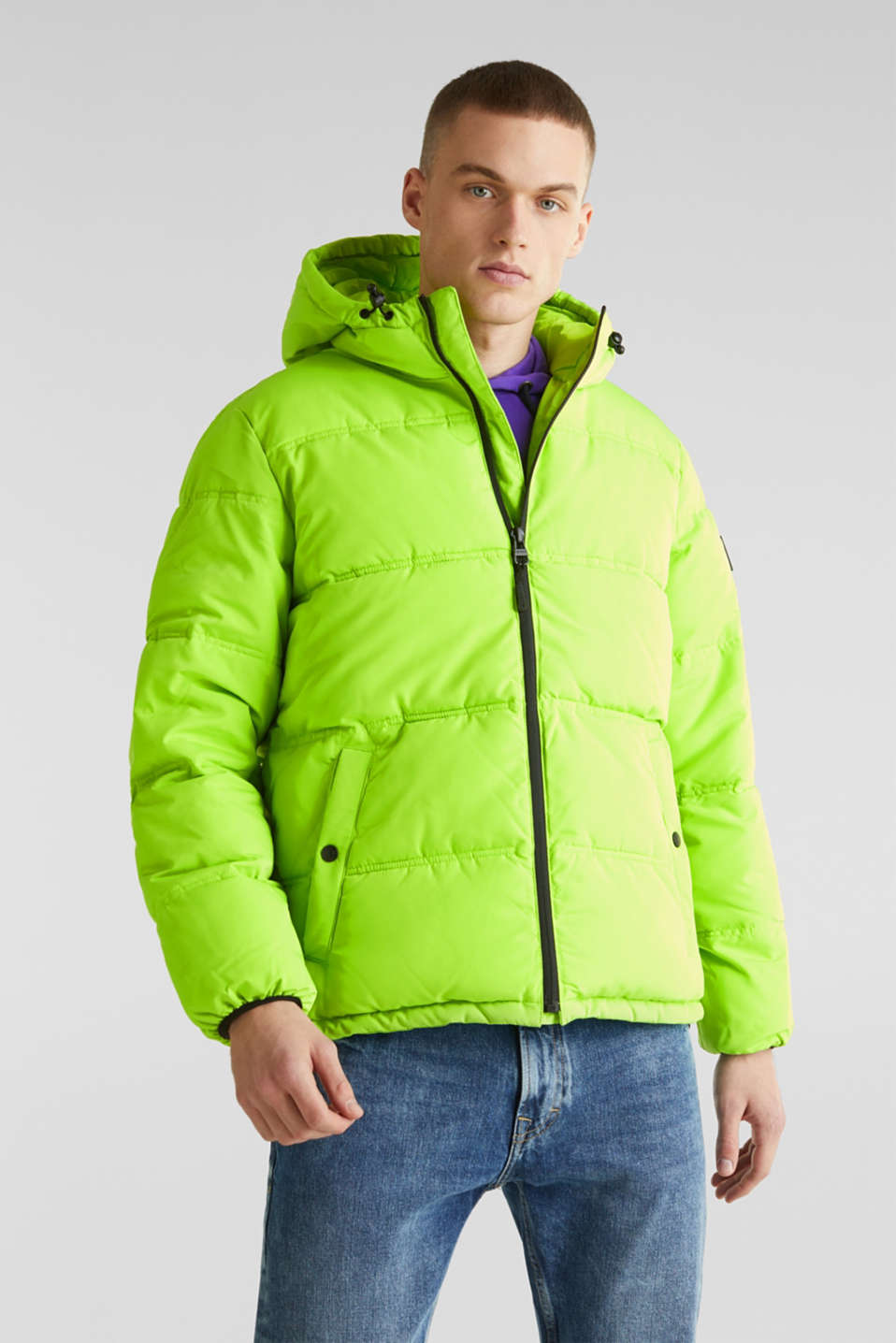Hooded quilted jacket, CITRUS GREEN, detail image number 0
