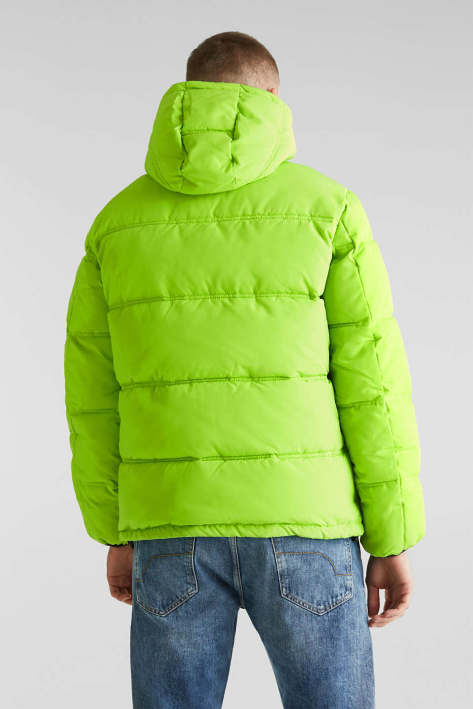 Hooded quilted jacket, CITRUS GREEN, detail image number 3