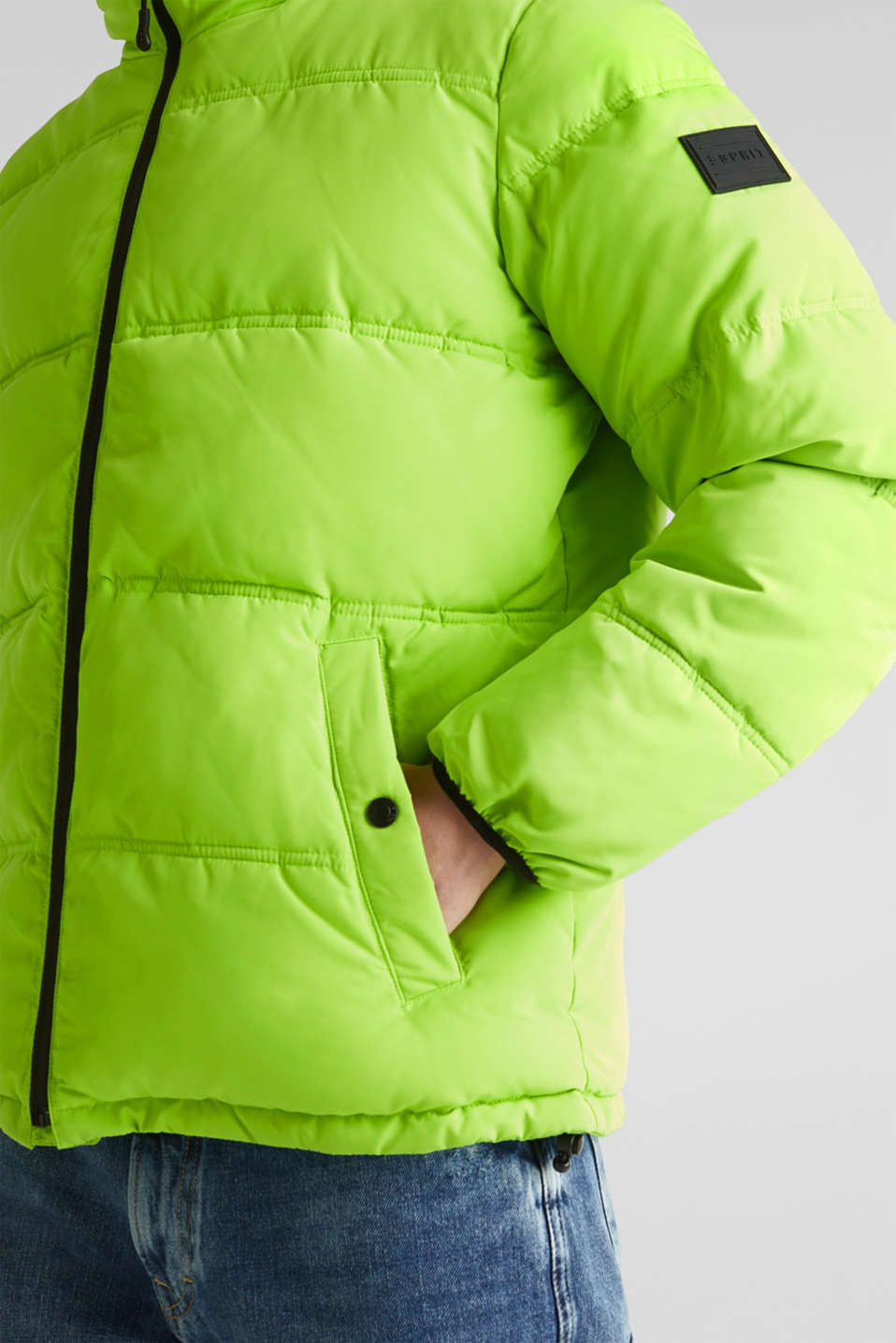 Hooded quilted jacket, CITRUS GREEN, detail image number 2
