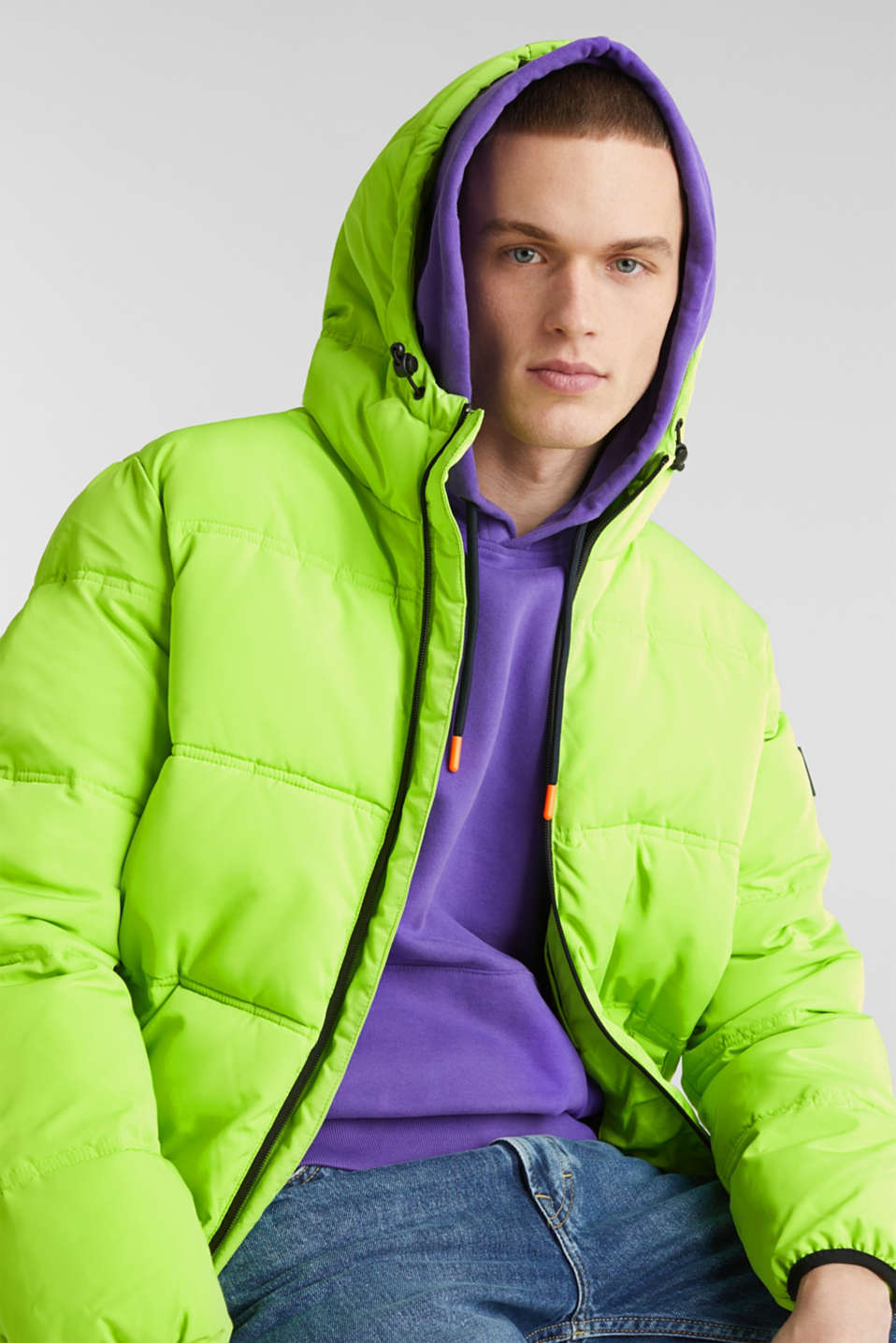 Hooded quilted jacket, CITRUS GREEN, detail image number 5