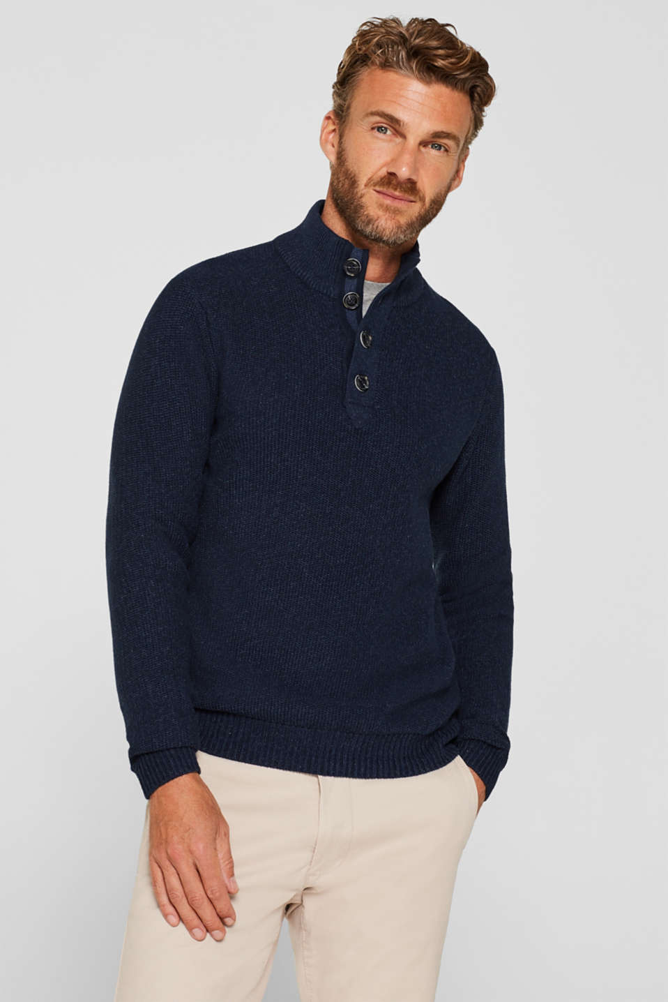 Knitted button-neck jumper in 100% cotton, NAVY, detail image number 0