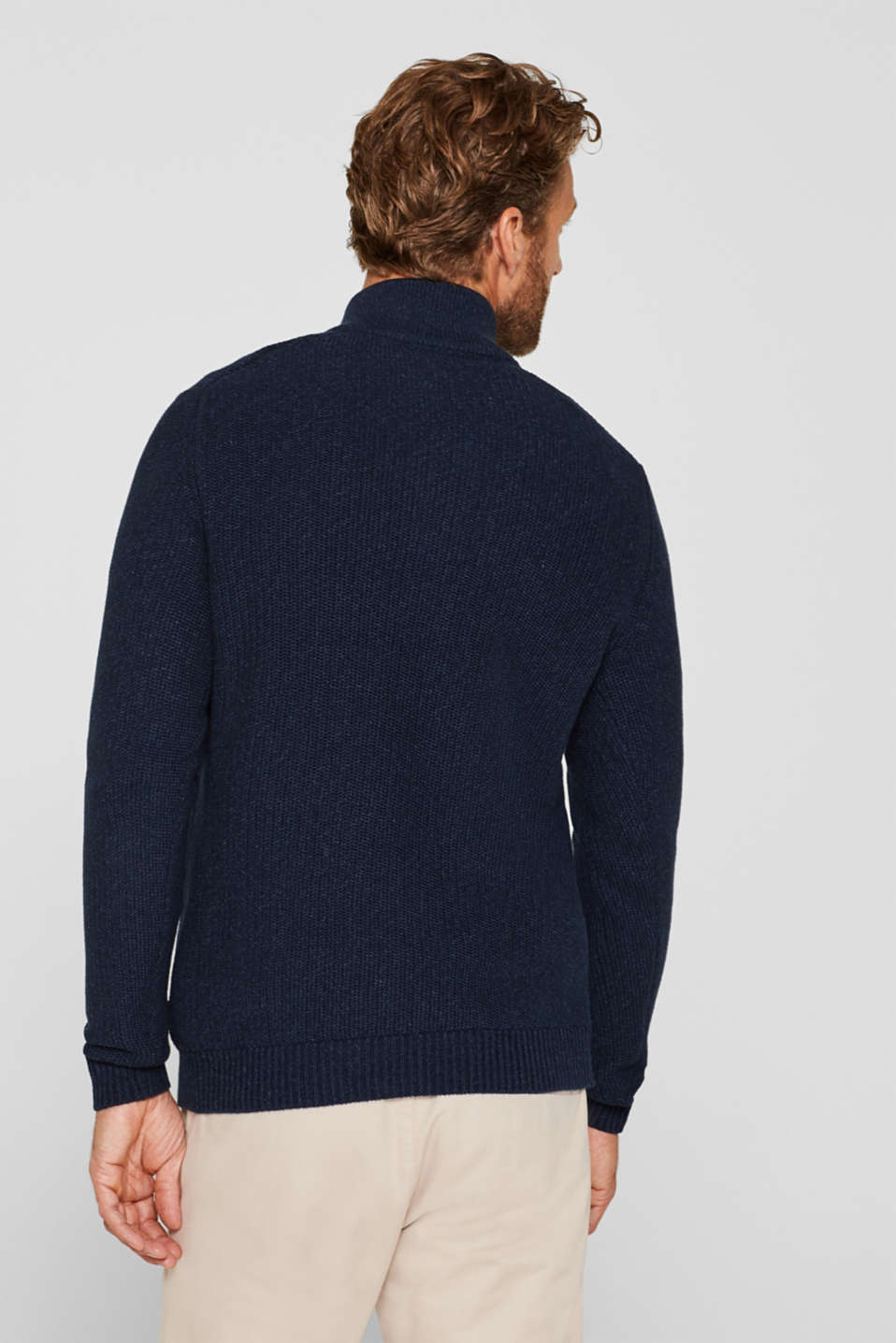 Knitted button-neck jumper in 100% cotton, NAVY, detail image number 3