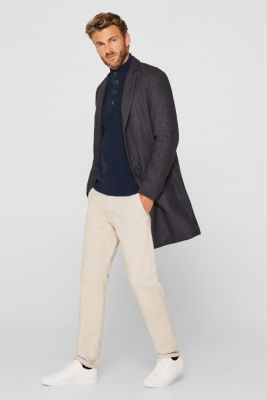 Knitted button-neck jumper in 100% cotton, NAVY, detail