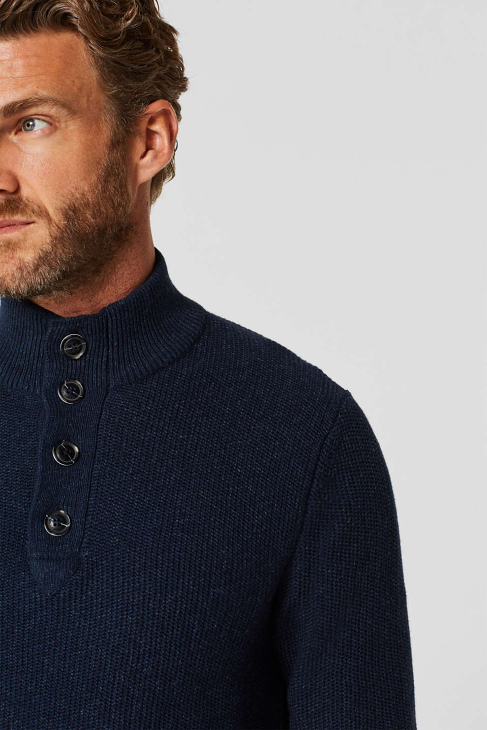 Knitted button-neck jumper in 100% cotton, NAVY, detail image number 2
