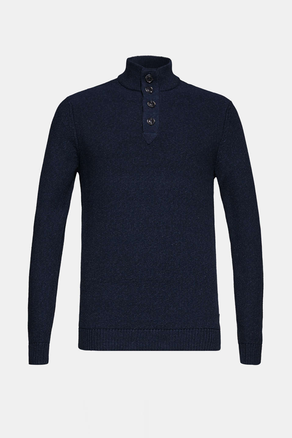 Knitted button-neck jumper in 100% cotton, NAVY, detail image number 8