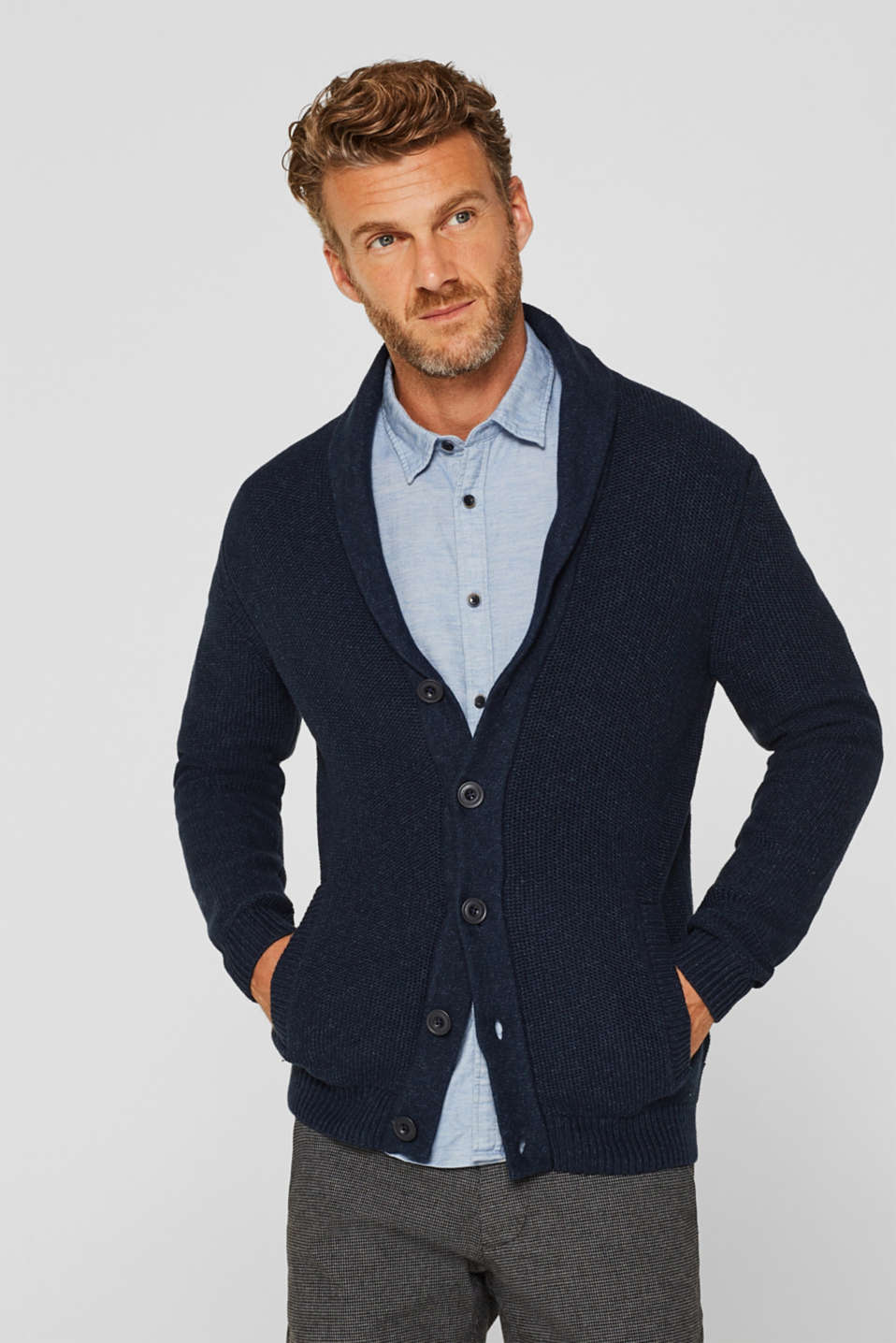 Chunky knit cardigan made of 100% cotton, NAVY, detail image number 0