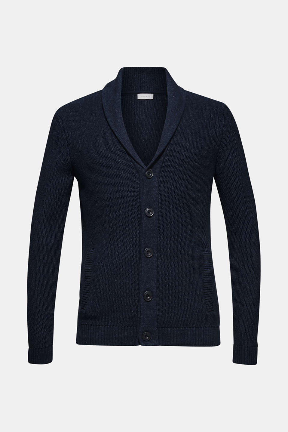 Chunky knit cardigan made of 100% cotton, NAVY, detail image number 6