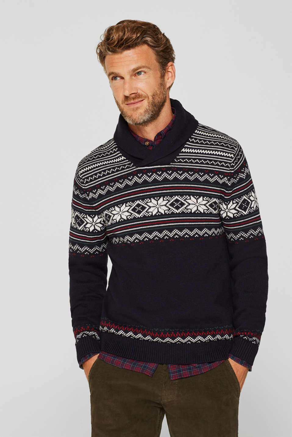 Esprit - With wool: Jumper with a Fair Isle pattern