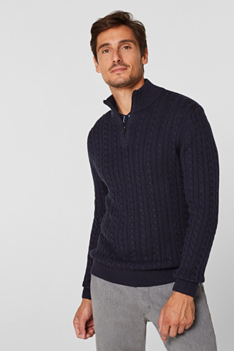 Jumper with a cable knit, 100% cotton