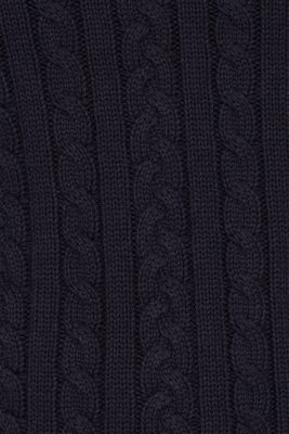 Jumper with a cable knit, 100% cotton, NAVY, detail