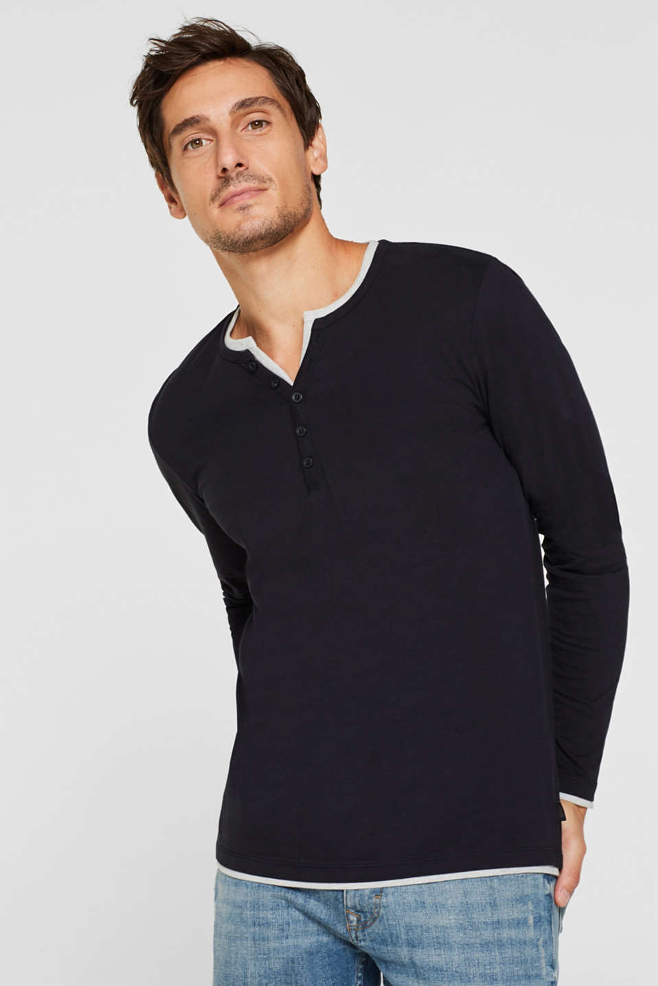 Jersey long sleeve top with a Henley neckline, BLACK, detail image number 0