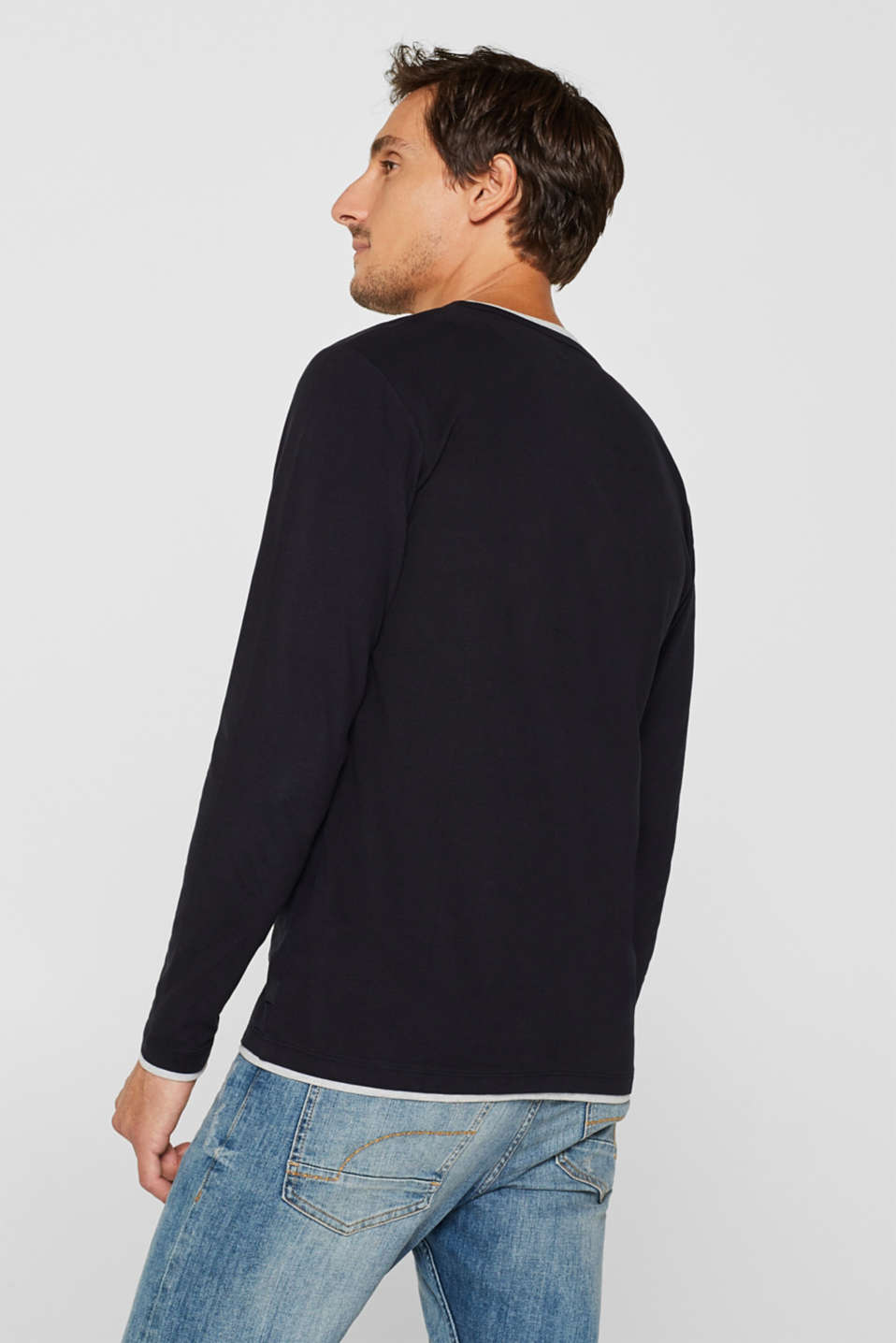 Jersey long sleeve top with a Henley neckline, BLACK, detail image number 3
