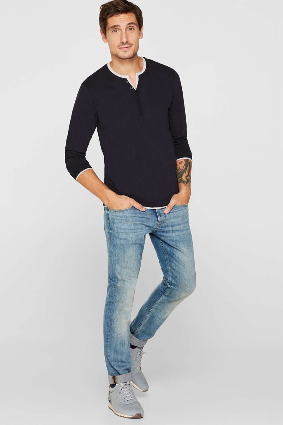 Jersey long sleeve top with a Henley neckline, BLACK, detail image number 2