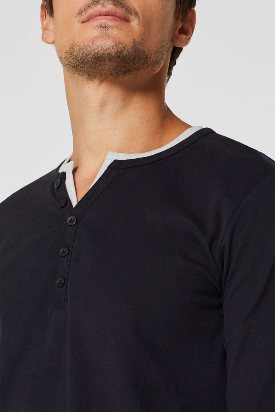 Jersey long sleeve top with a Henley neckline, BLACK, detail image number 1