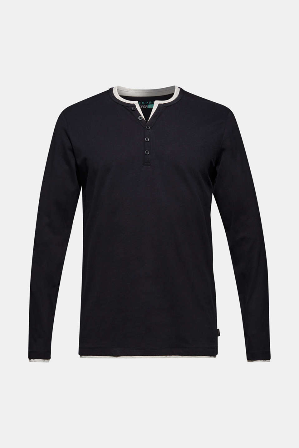 Jersey long sleeve top with a Henley neckline, BLACK, detail image number 5