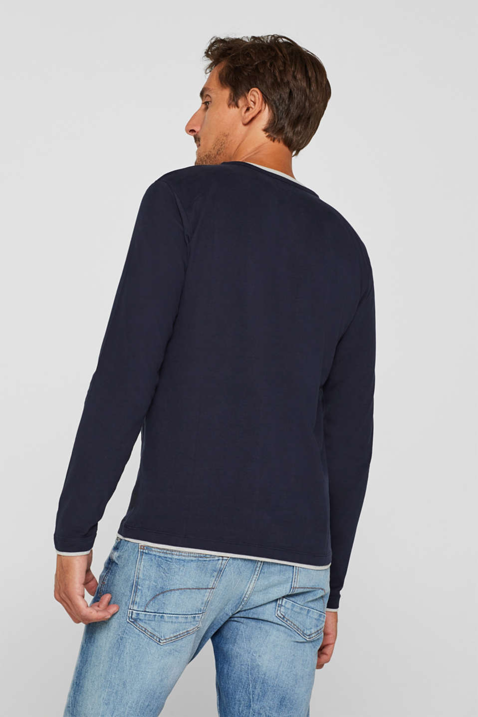 Jersey long sleeve top with a Henley neckline, NAVY, detail image number 3
