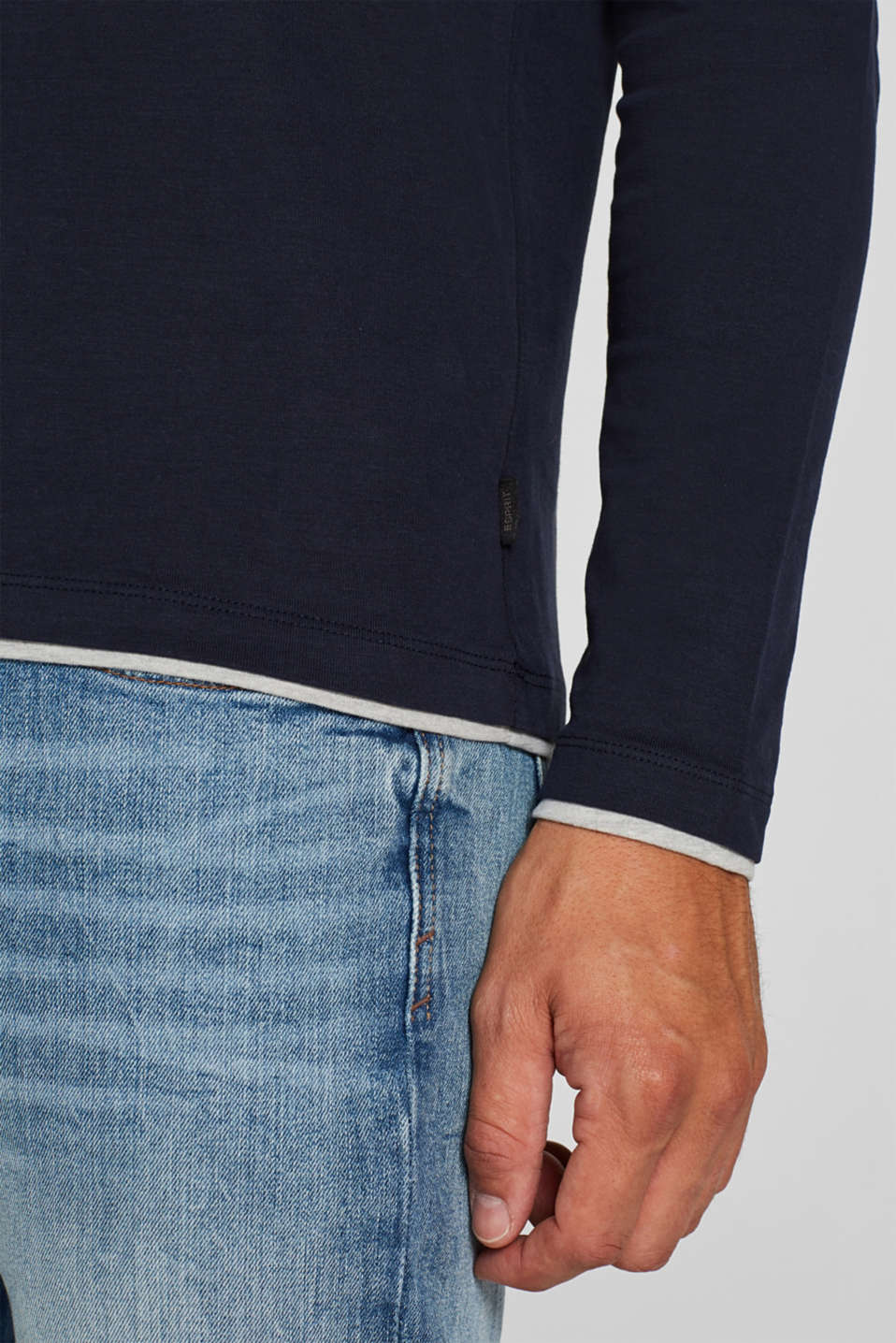 Jersey long sleeve top with a Henley neckline, NAVY, detail image number 1