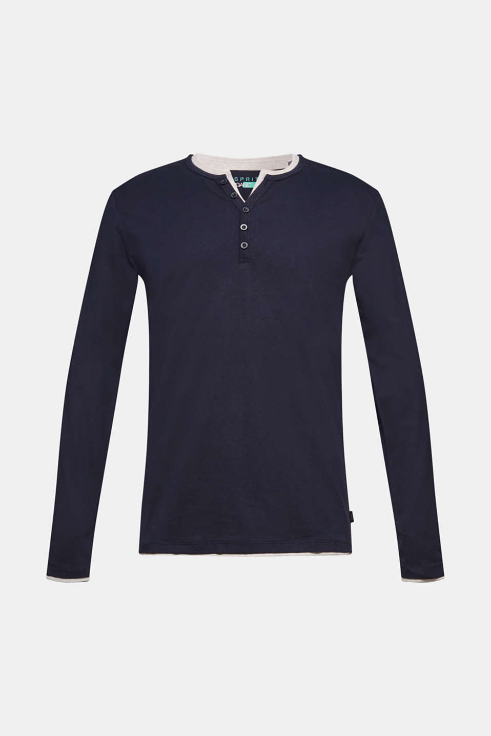 Jersey long sleeve top with a Henley neckline, NAVY, detail image number 5