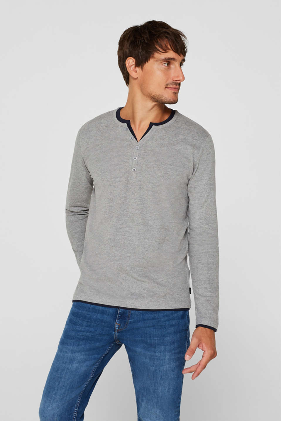 Jersey long sleeve top with a Henley neckline, MEDIUM GREY, detail image number 0