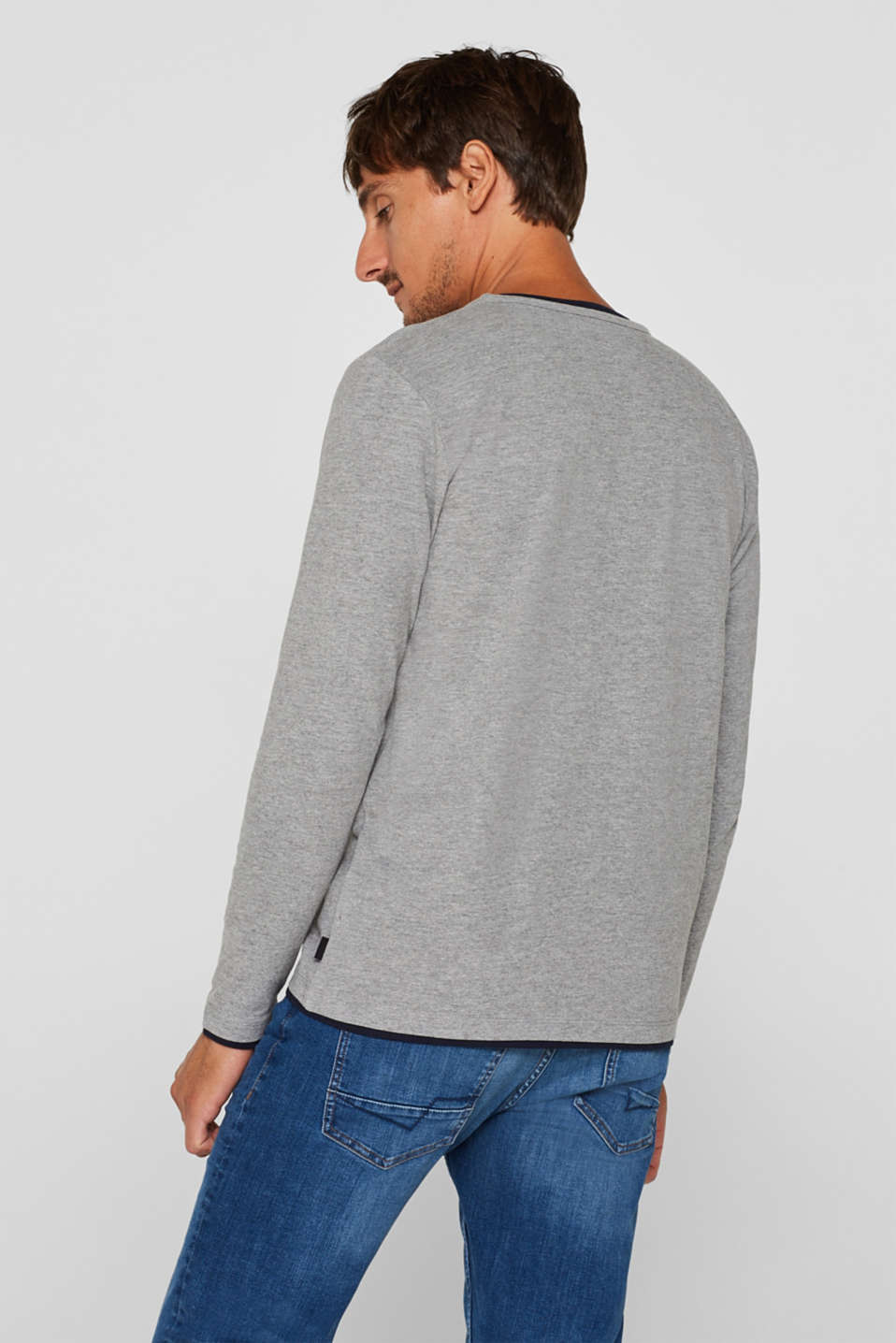 Jersey long sleeve top with a Henley neckline, MEDIUM GREY, detail image number 3