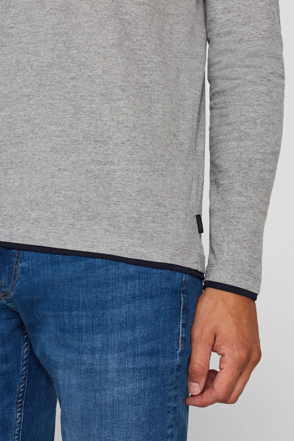 Jersey long sleeve top with a Henley neckline, MEDIUM GREY, detail image number 1