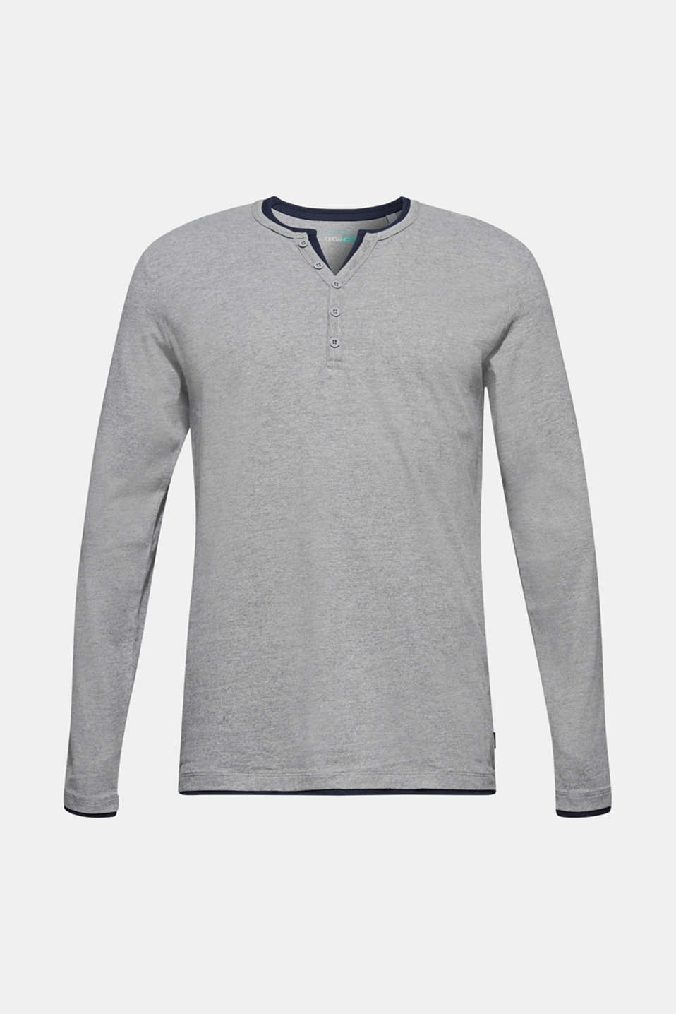 Jersey long sleeve top with a Henley neckline, MEDIUM GREY, detail image number 6