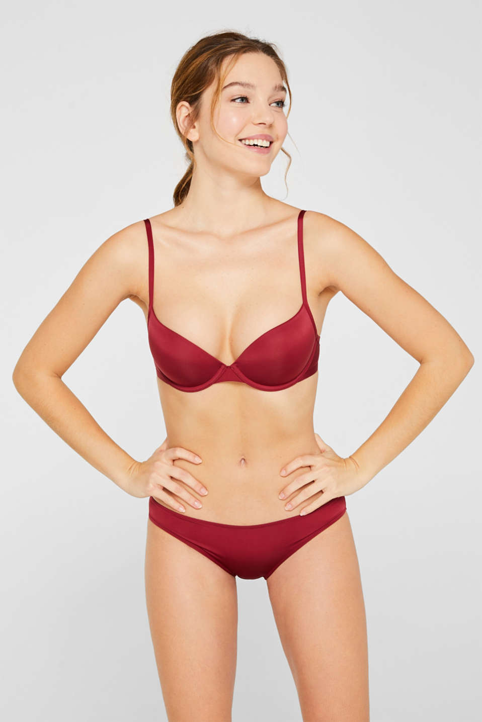 Push-up bra with a fine sheen, DARK RED, detail image number 0