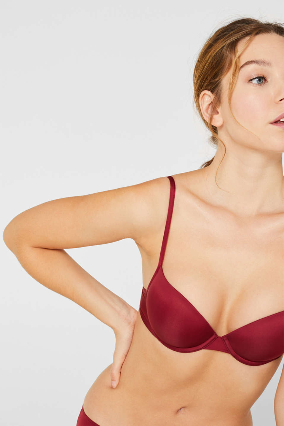 Padded underwire bra with a fine sheen, DARK RED, detail image number 2