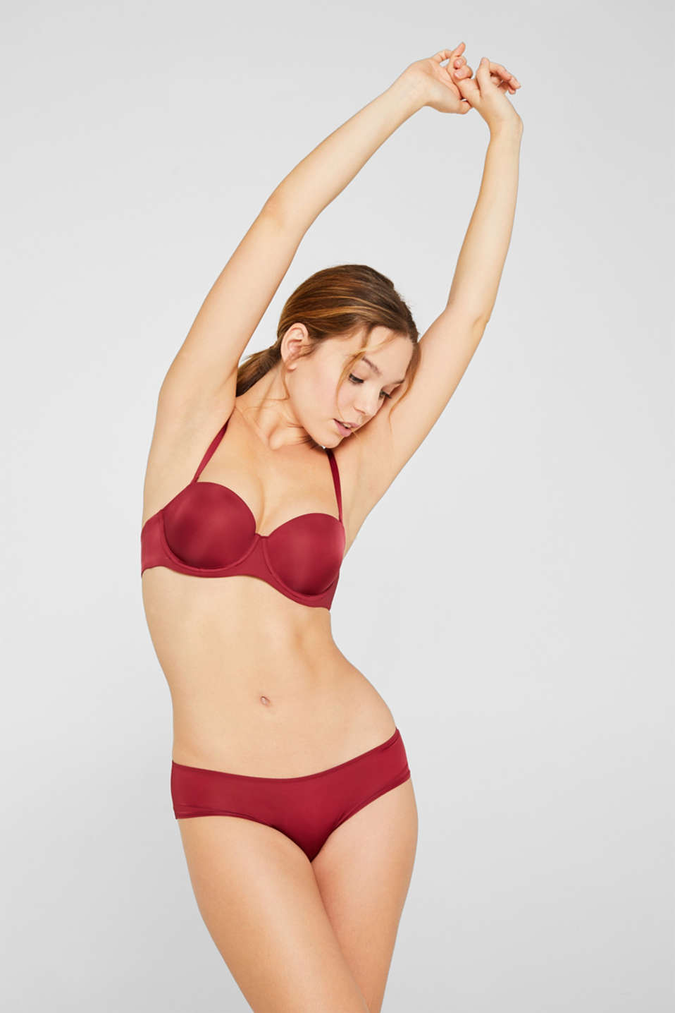 Padded underwire bra with detachable straps, DARK RED, detail image number 0