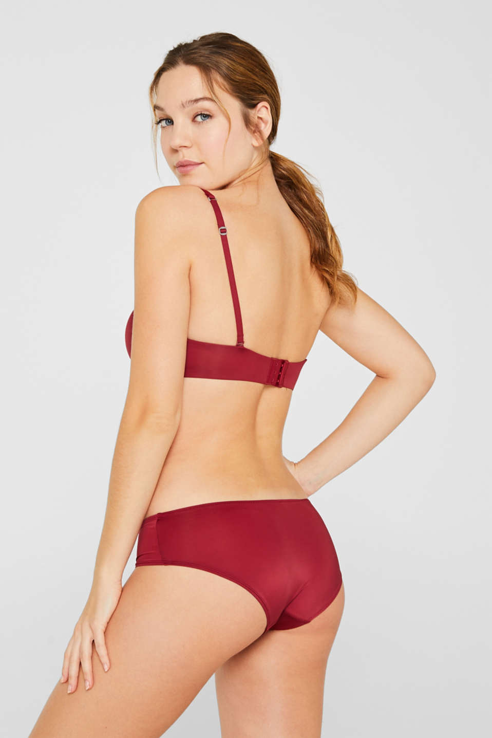 Padded underwire bra with detachable straps, DARK RED, detail image number 1