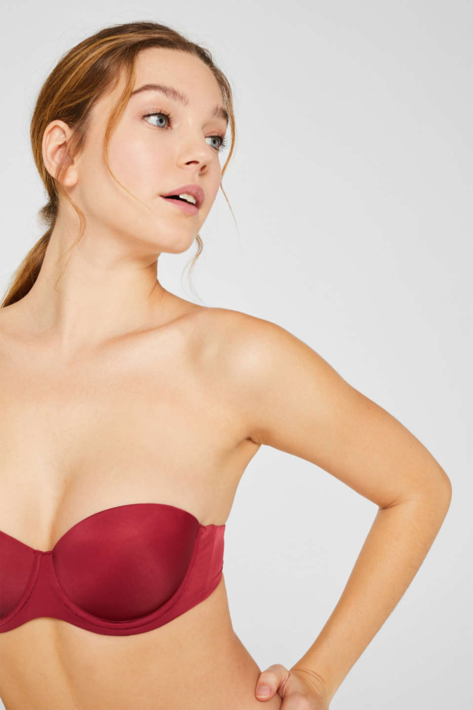 Padded underwire bra with detachable straps, DARK RED, detail image number 2
