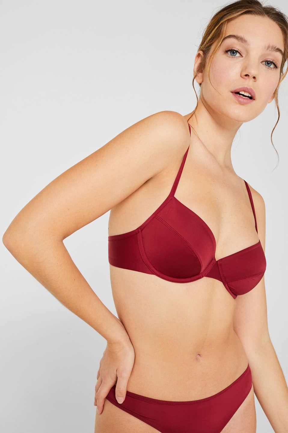Unpadded underwire bra with a fine sheen, DARK RED, detail image number 0