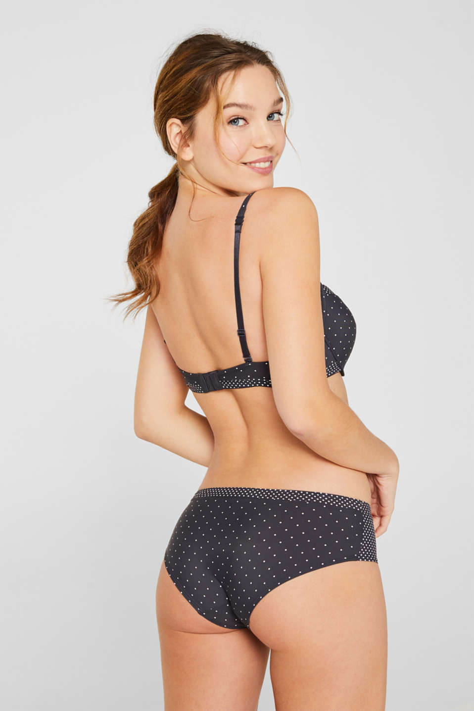 Padded underwire top with a polka dot print, ANTHRACITE, detail image number 1