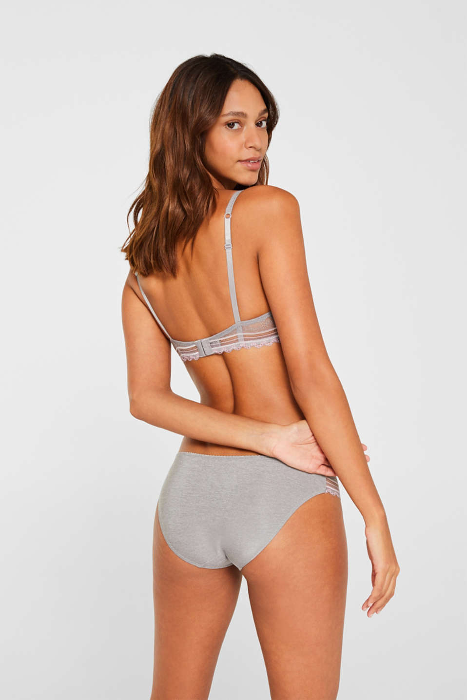 Push-up bra in embellished lace, LIGHT GREY, detail image number 1