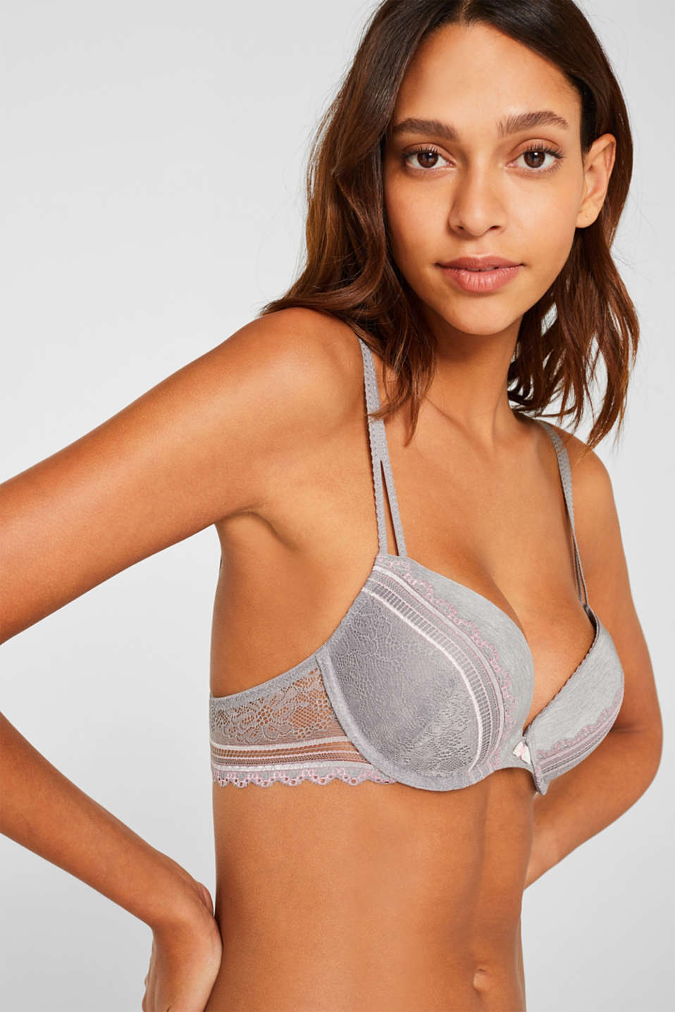 Push-up bra in embellished lace, LIGHT GREY, detail image number 2