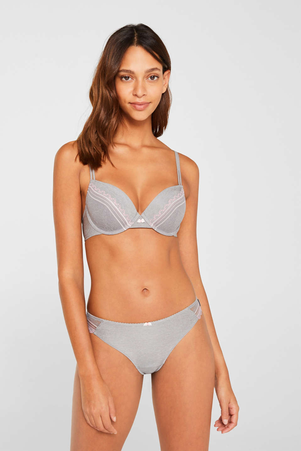 Padded underwire bra with embellished lace, LIGHT GREY, detail image number 0