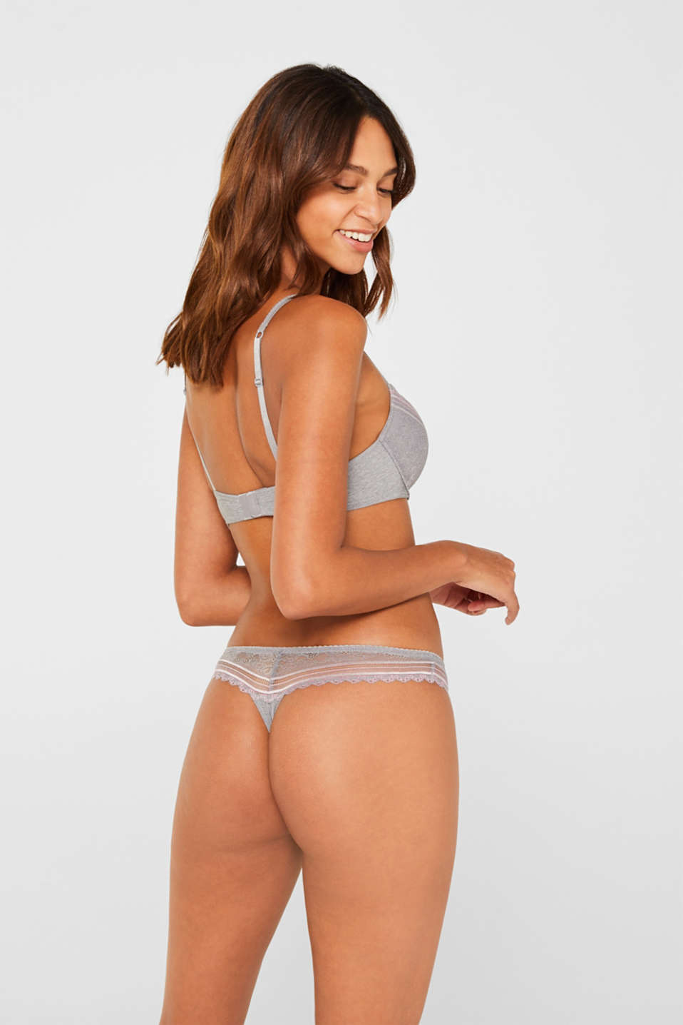 Padded underwire bra with embellished lace, LIGHT GREY, detail image number 1